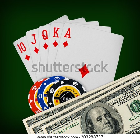 The combination of playing cards poker casino - stock photo