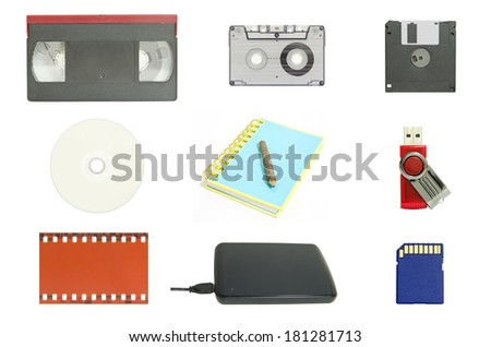 The combo set of world's data storage - stock photo