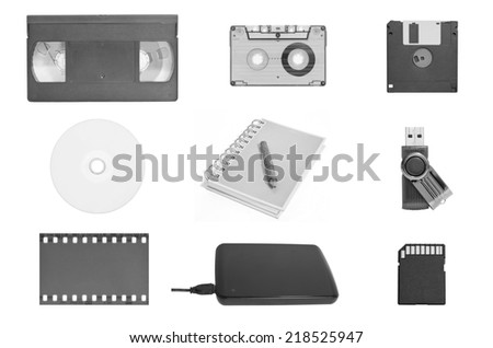 The combo set of world's data storage in black and white - stock photo