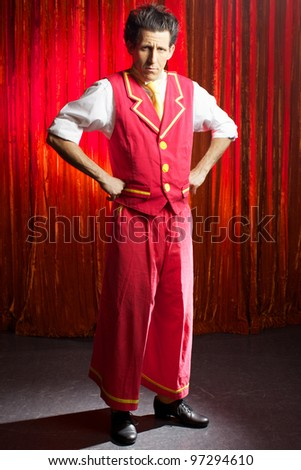 The comedian man on stage in theater - stock photo