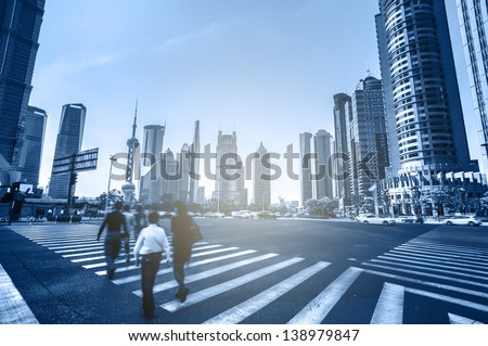 The commercial center of Shanghai, China - stock photo