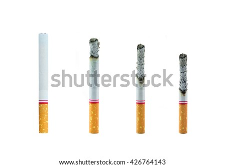 The comparison of cigarette burnt down - stock photo