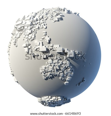 The complex structure of the Earth, consisting of a cubic rectangular shapes, the size of which depends on the height of the real terrain - stock photo
