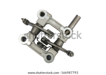 The components of the internal combustion engine, motorcycle, tillers, lawn mower, mettalicheskoe product zaposnye of moped motor unit. - stock photo