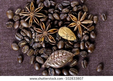 The composition of coffee beans - stock photo