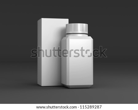 The composition of the two packages standing upright on a black background - stock photo