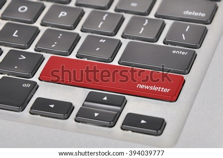 The computer keyboard button written word newsletter . - stock photo