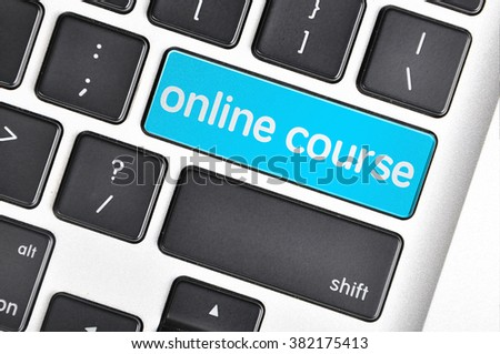 The computer keyboard button written word online course . - stock photo