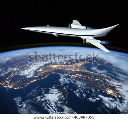 The concept of a futuristic hypersonic passenger aircraft flying in the stratosphere. Space tourism. 3D rendering. Elements of this image furnished by NASA. - stock photo