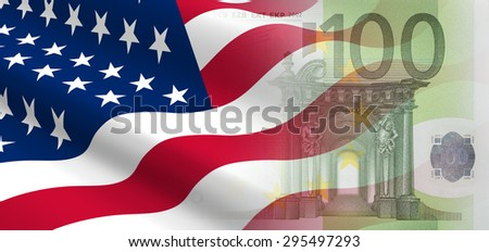 The concept of and economic political relationships the United States with European Union. - stock photo