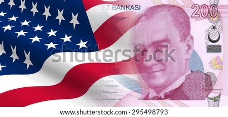 The concept of and economic political relationships the United States with Turkey. - stock photo