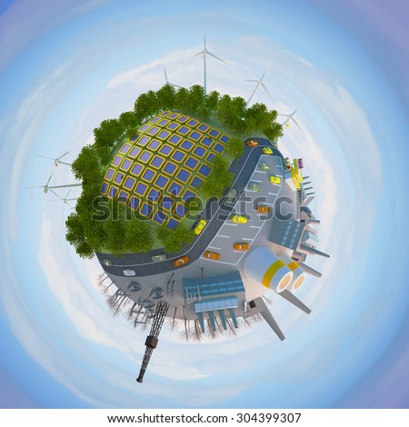 the concept of clean energy and environmental problems of the earth - stock photo