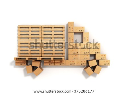 the concept of delivery, boxes and pallets are stacked in the form of a truck - stock photo