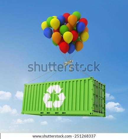 The concept of ecological transportation. Balloons are a freight container on a background of blue sky. - stock photo
