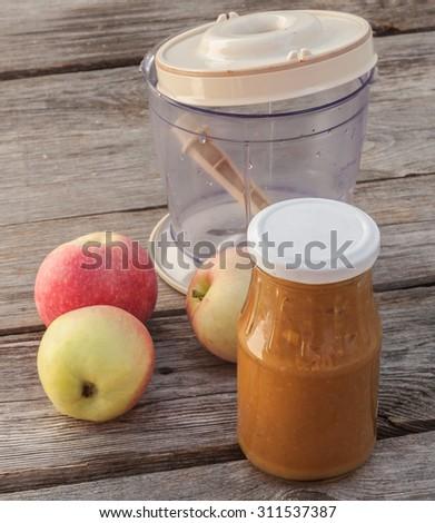 The concept of environmental children's homemade applesauce - stock photo