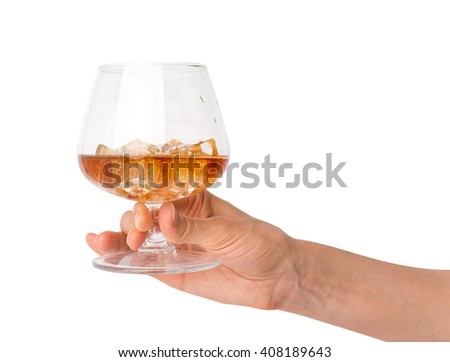 The concept of hand holding a glass beaker with alcohol drink with ice cubes. Isolated on white with clipping path - stock photo