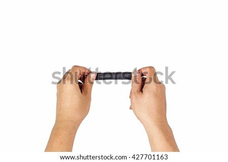 The concept of hands is about to black taped to close on the white background. - stock photo