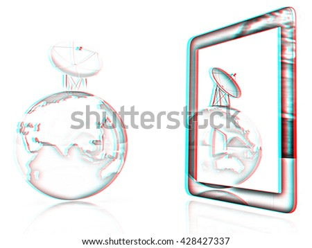 The concept of mobile high-speed Internet and planet earth on a white background. Pencil drawing. 3D illustration. Anaglyph. View with red/cyan glasses to see in 3D. - stock photo