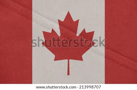 The concept of national flag on leather background: Canada - stock photo