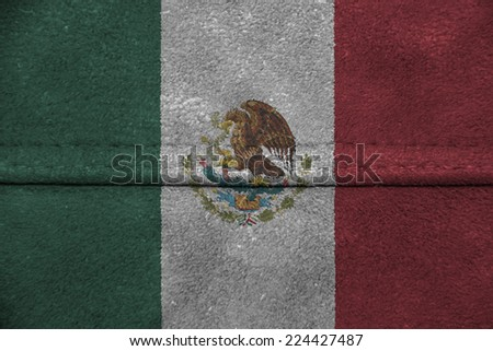 The concept of national flag on leather background: Mexico - stock photo