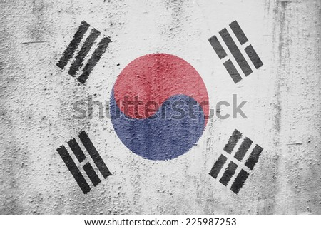 The concept of national flag on metal background: South Korea - stock photo