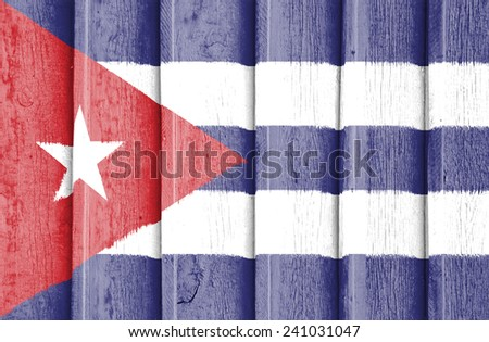 The concept of national flag on old ribbed wooden background: Cuba - stock photo
