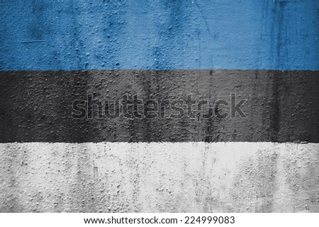 The concept of national flag on rusty metal background: Estonia - stock photo
