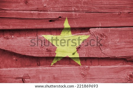 The concept of national flag on wooden background: Vietnam - stock photo