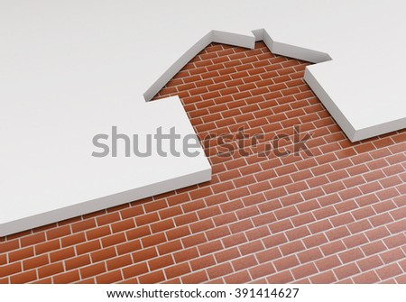The concept of planning the construction of new housing. The outline of the house and brickwork. Construction industry - stock photo