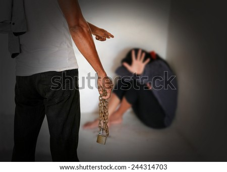 The concept of trafficking women. - stock photo