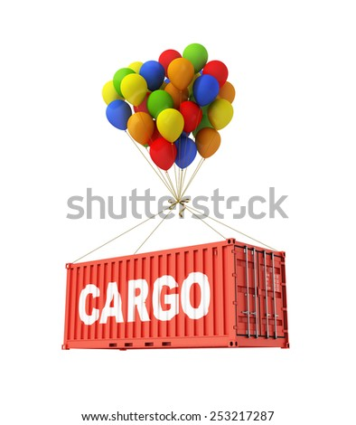 The concept of transportation. Balloons are a freight container. - stock photo