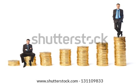 The concept of wealth and poverty. Businessman at the peak of wealth and unsuccessful businessman - stock photo