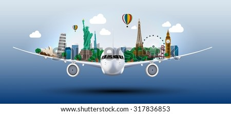 The concept travel the world on the airplanes - stock photo