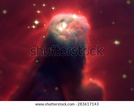 The Cone Nebula is an H II region in the constellation of Monoceros. The Cone Nebula forms part of the nebulosity surrounding the Christmas Tree Cluster. Elements of this image furnished by NASA. - stock photo