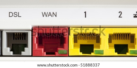 the connections of a adsl equipment - stock photo