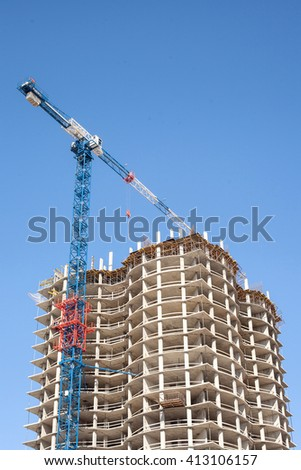 the construction of an apartment building - stock photo