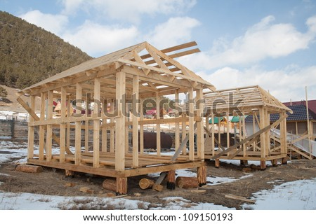 The construction of panel houses - stock photo