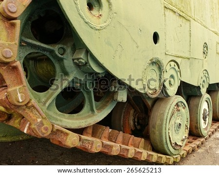 The continuous track of a World War Two landing craft  - stock photo