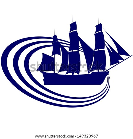 The contour of the ancient sailing ship. Illustration on white background. - stock photo
