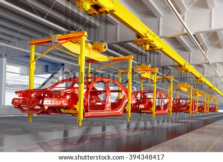 The conveyor for assembly of cars. - stock photo
