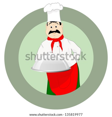 The cook in a cap with a tray - stock photo