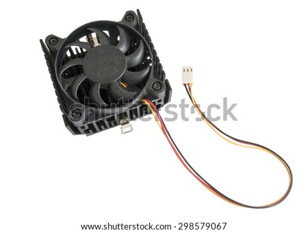 The cooling fan with heatsink on white background - stock photo