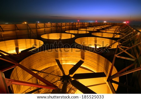 The cooling tower fan at the electric station - stock photo