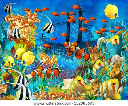 The coral reef - illustration for the children - stock photo