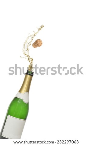 The Cork popping out of a bottle of champagne isolated on white background - stock photo