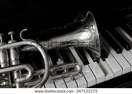 The cornet on piano keys - stock photo