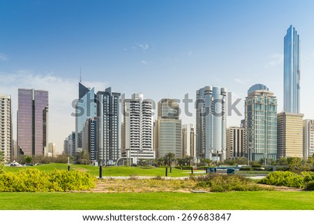 The Cornich in Abu Dhabi - stock photo
