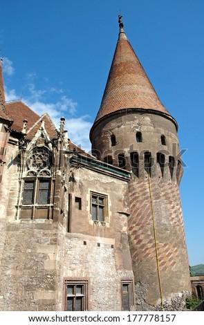 The Corvin castle in Transylvania, Romania - stock photo