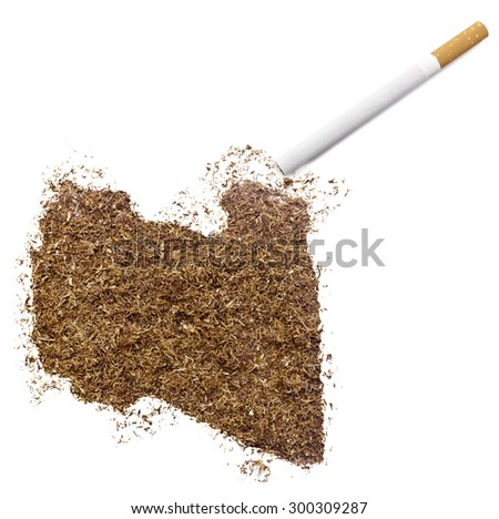 The country shape of Libya made of tobacco and a cigarette.(series) - stock photo