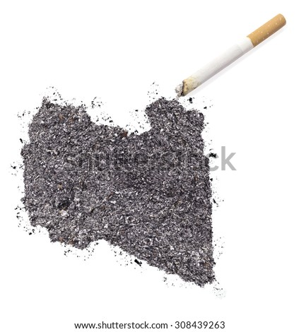 The country shape of Libya made of tobacco ash and a cigarette.(series) - stock photo